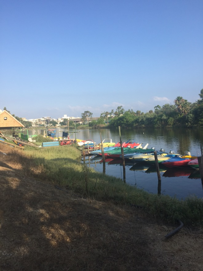 A row of colorful boats moored next to a small boathouse