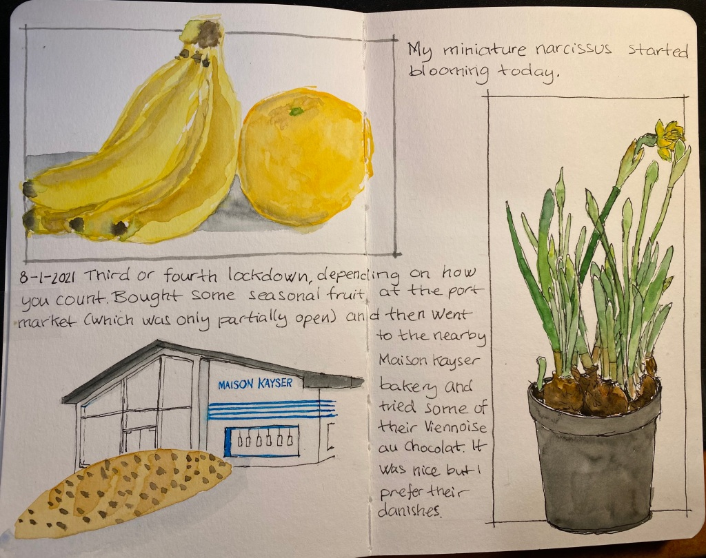 A sketch of an orange, a banana, a narcissus flowering, Maison Kayser and a Viennoise au Chocolat