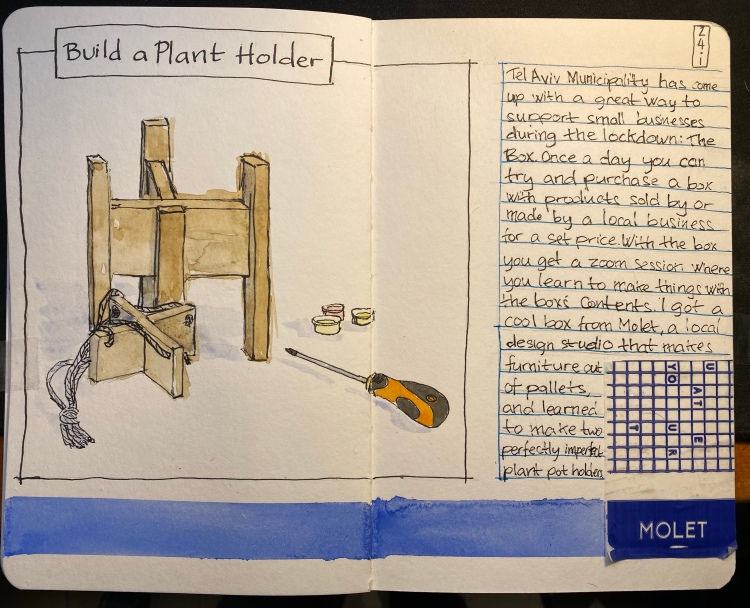 Sketchbook spread with two wooden X shaped plant holders, a screwdriver and some tiny paint pots. There's a sticker with the Molet logo on the right.