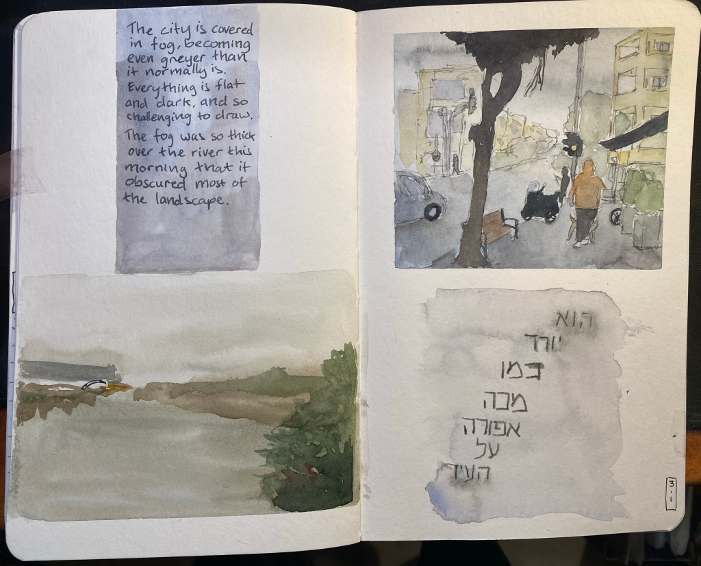 A5 Stillman and Birn sketchbook spread with two watercolour drawings, one on the lower left side and one on the upper right side (with ink), and two text blocks, one in Hebrew on the lower right side and one in English on the upper left side. The palette is grey and muted.