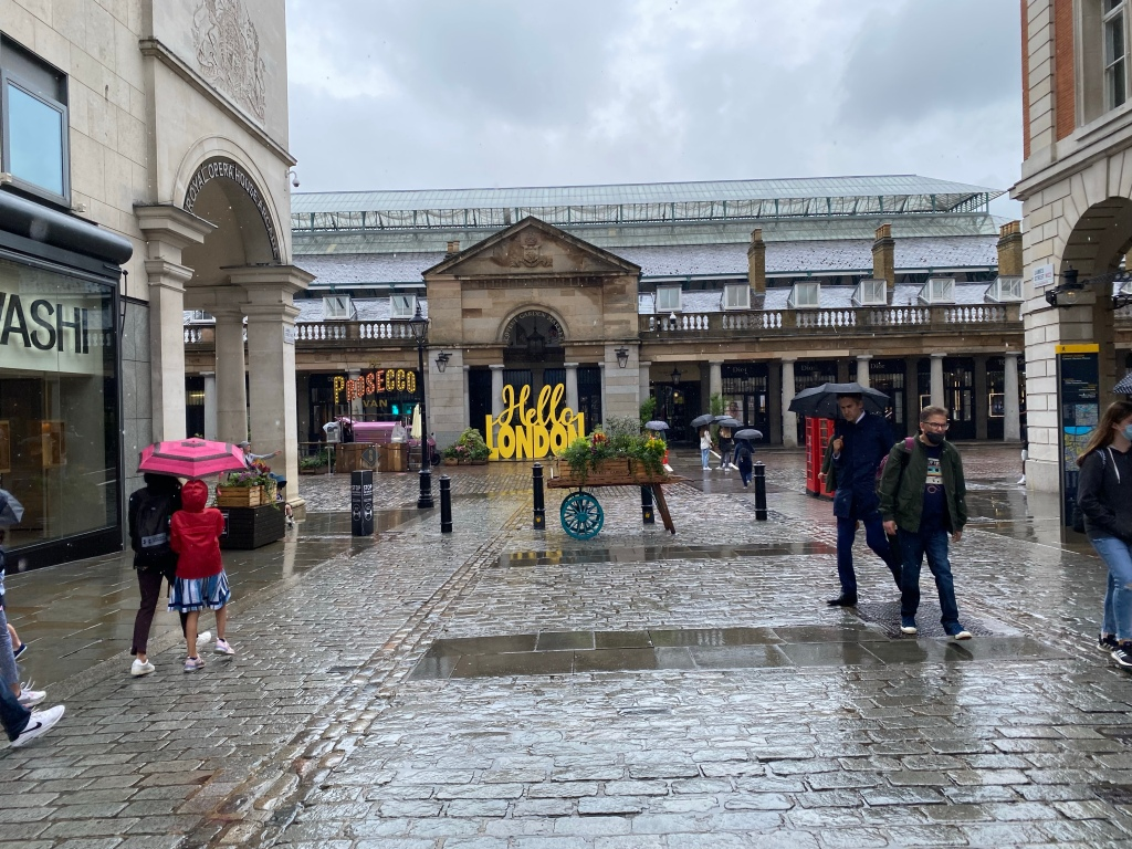 Covent Garden. very few people outside.