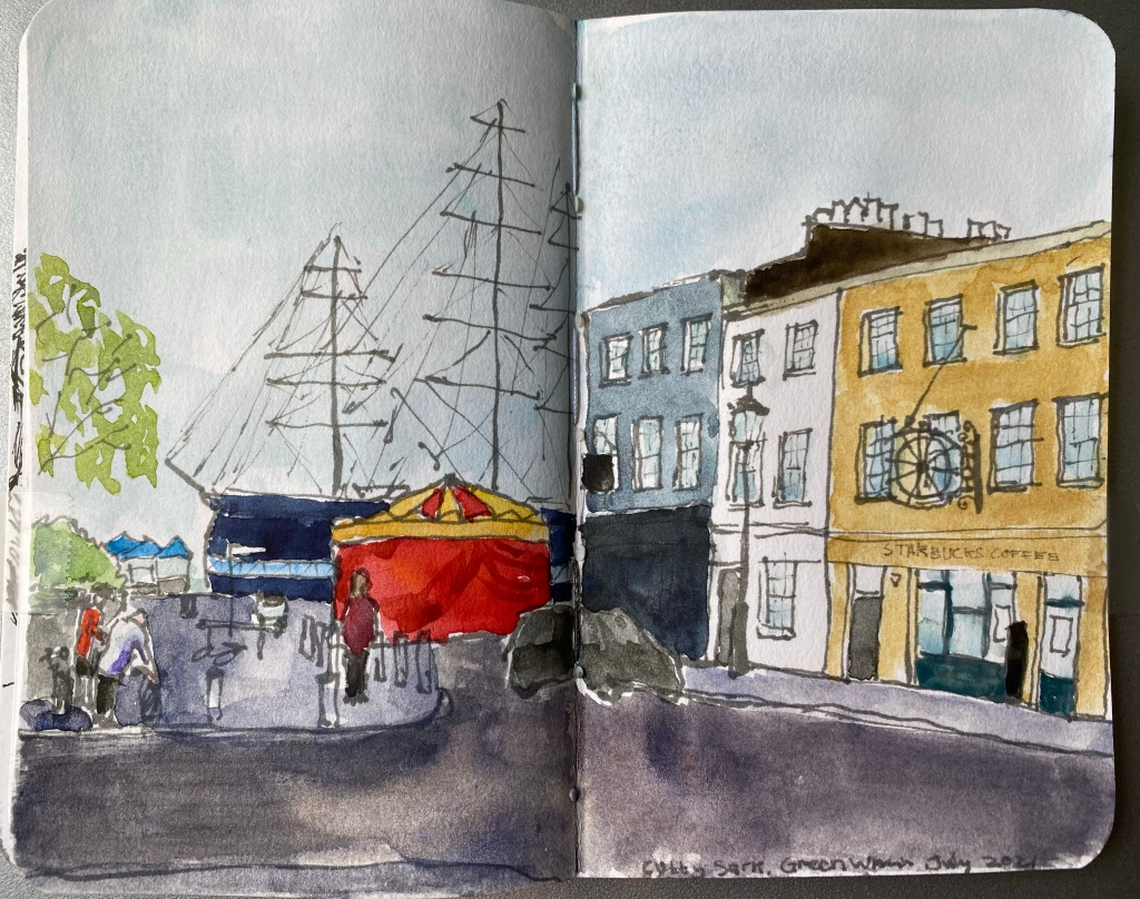 The Cutty Sark ship in the background, with a circus tent before it and buildings to the left, all drawn in ink and watercolour.